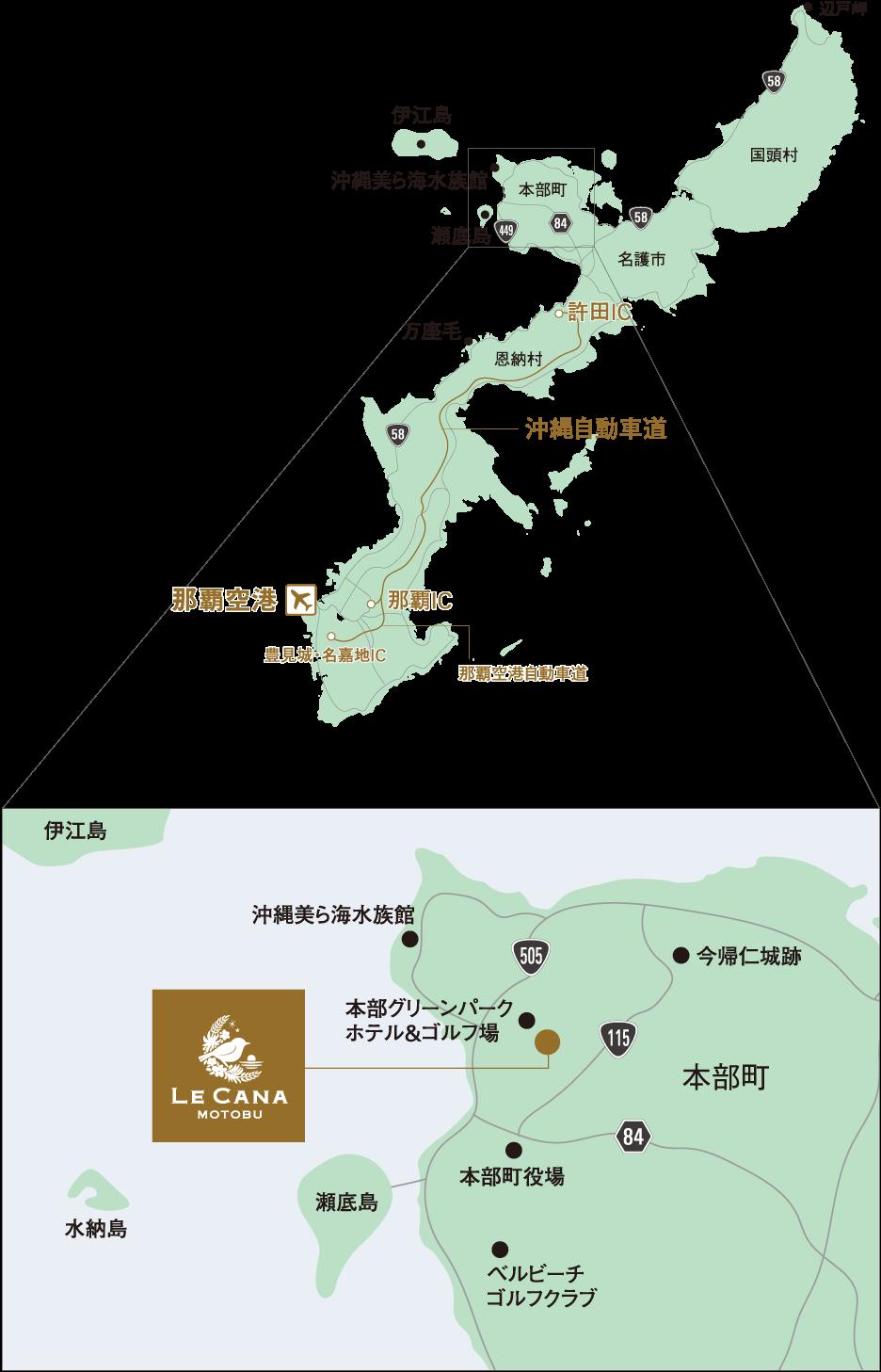 沖繩私宅婚禮lecana位置地圖